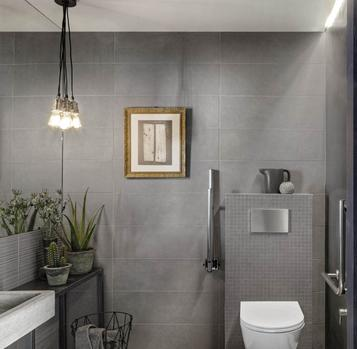 Chalk: Grey Tiles: pearl, dark, light and dove. - Marazzi