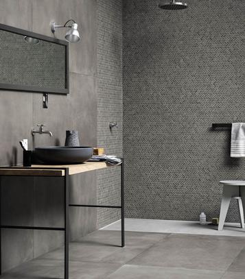 Powder: Grey Tiles: pearl, dark, light and dove. - Marazzi