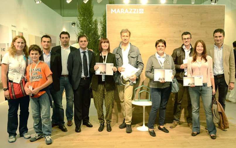 "Winners of the ""Your Marazzi Space: Win a Trip to New York"" competition receive their awards at Cersaie 2012"