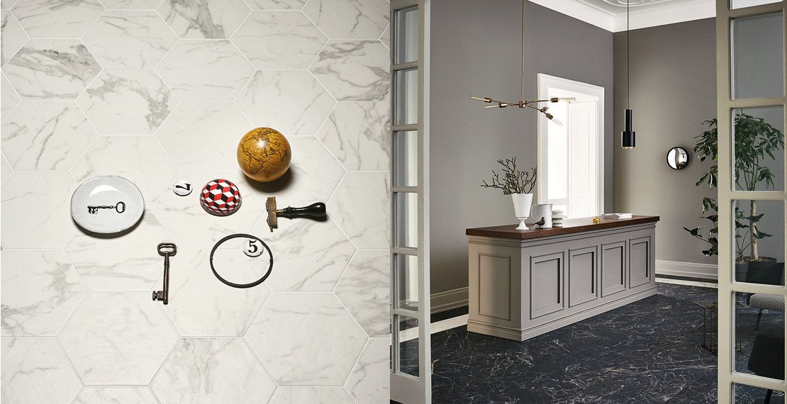 Allmarble and Materika are portrayed by Andrea Ferrari in the new Marazzi 2016 advertising campaign.