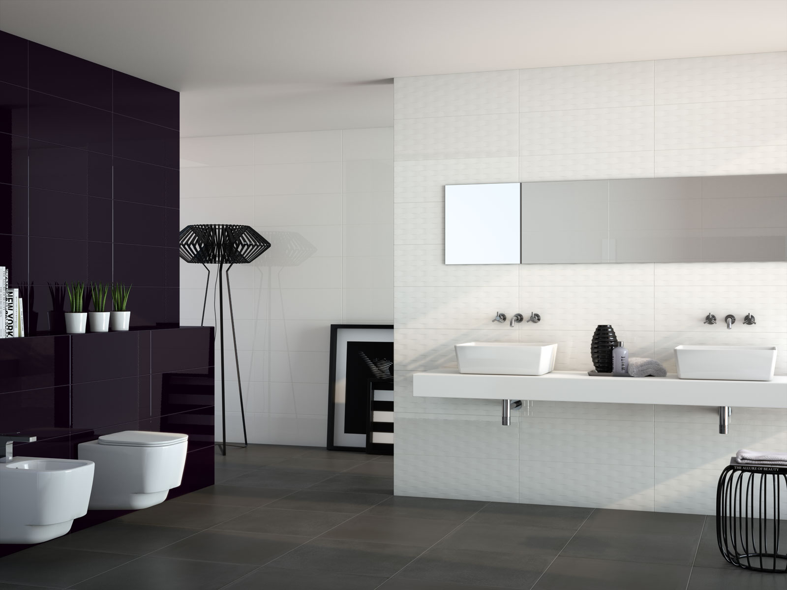 Soul black white porcelain stoneware marazzi for Salle de bain grand carrelage