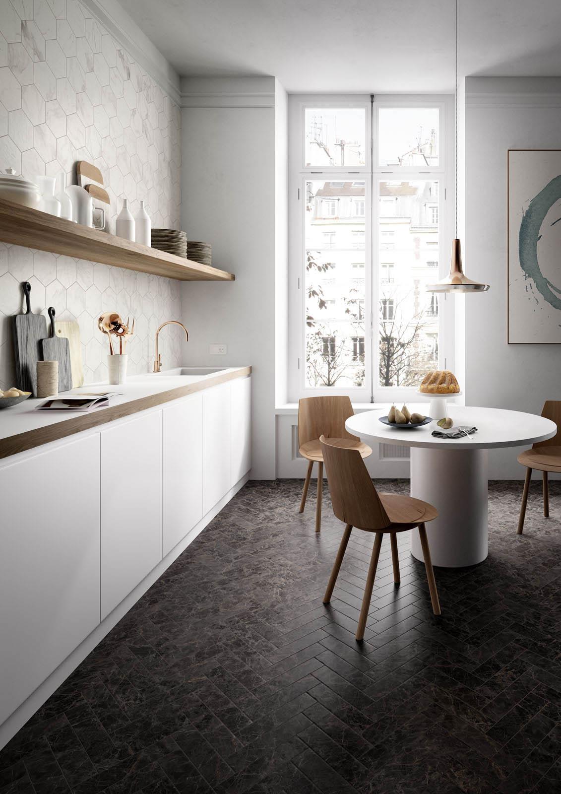 Kitchen flooring stoneware and porcelain solutions marazzi for Kitchen floor solutions